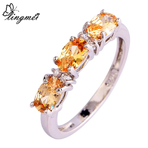 Dudee Sweet L Multi-Color CZ Silver Color Women cz engagement ring fashion rings for women