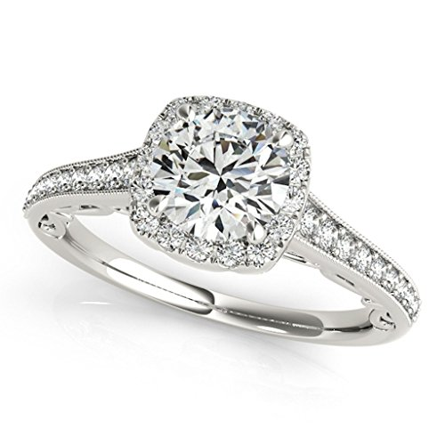 1 Ct Halo Round Diamond Engagement Ring In 14k White Gold