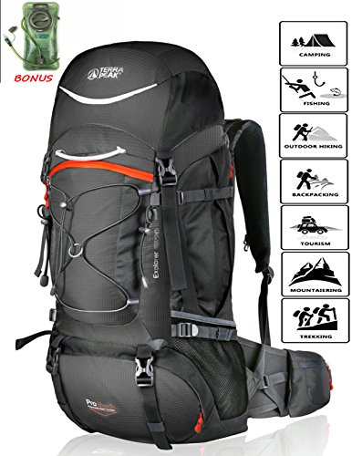 e Hiking Backpack 55L/65L/85L+20L for Men Women With Free Rain Cover Included Black Navy Green and Dark Grey (Graphite/Orange 65L+20L) ()