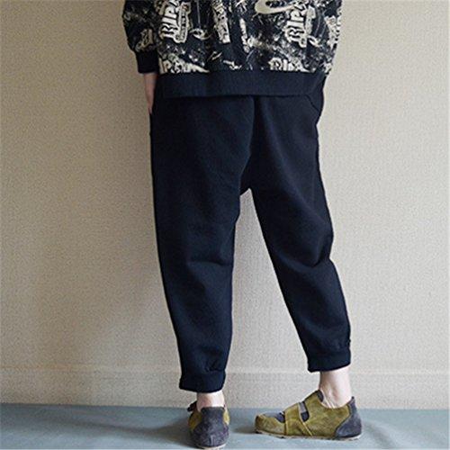 Neri Pantaloni Moda Elasticità Larga Elegante Pants Wanyang Donne Nero Donna Di Casuale Harem Gamba B1nqB7xREY