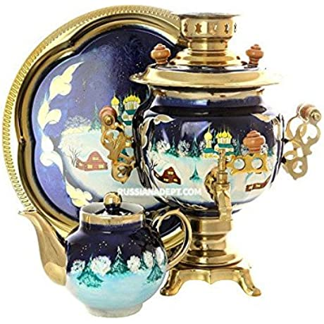 Set Electric Samovar 3 Liters With Artistic Painting Winter Village
