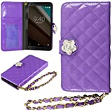 Google Nexus 6 Case, HHI Google Nexus 6 Quilted Purse Wallet Case - Purple with Crystal Flower Bling and Hand Strap (Package include a HandHelditems Sketch Stylus Pen)