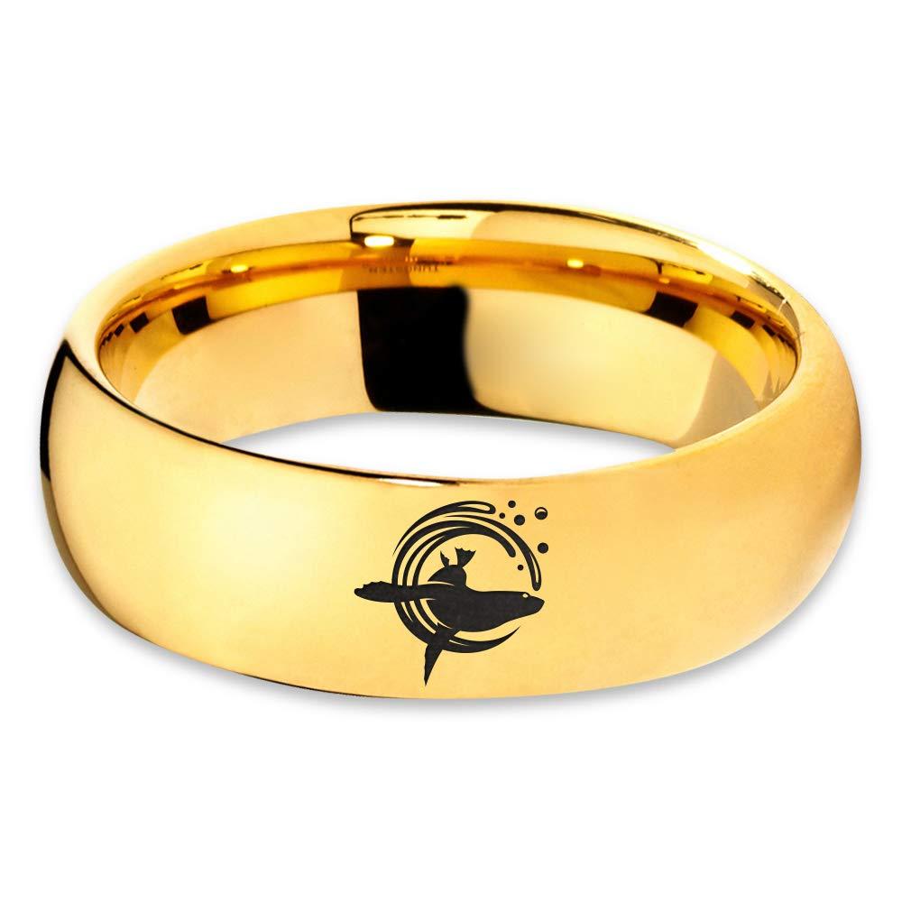Wedding 18k Rose Gold Step Bevel Edge Tungsten Band 8mm Grey Polished Gift Dome Flat Sea Lion Otariinae Foreflippers Swimming Ring Blue Black Men Women Brushed Yellow