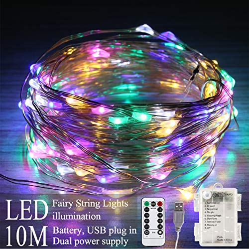 Areskey Colored Christmas Lights, 33 Ft 100 LED Fairy String Lights, USB...