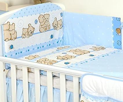 COT Mattress Size 5 pc Nursery Bedding Set FIT Bed with Mattress 120X60 OR 140X70 COT Bed - Duvet+Pillow+Duvet Cover+Pillow CASE+Bumper Blue Cute Teddy, 140x70