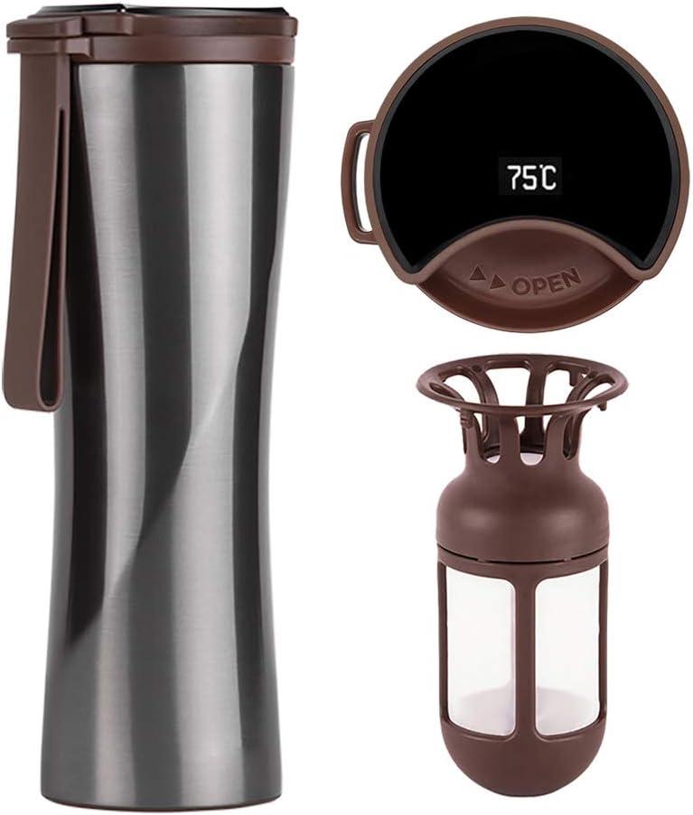 KISS KISS FISH Taza de Viaje, Termo Taza Café 430mL, Frasco de Vacío de Acero Inoxidable, Pantalla OLED Táctil Inteligente con Temperatura, Térmica de Doble Pared, Aislado al Vacío (Gris)