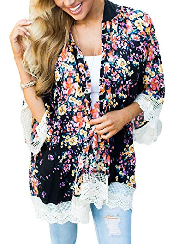 PRETTODAY Women's Floral Print Kimono Lace Loose Tops Sleeves Cover Up Chiffon Blouse (L, Black) - Lace Trim Maternity Blouse