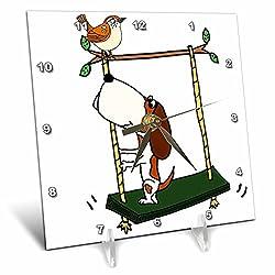 3dRose All Smiles Art Pets - Funny Cool Basset Hound Dog Swinging with Wren Bird - 6x6 Desk Clock (dc_270104_1)