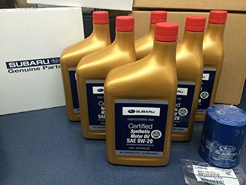 (Genuine SUBARU Oil Change Kit Filter Gasket & 6 Qts Synthetic Motor Oil SAE 0W-20 2011-2018)