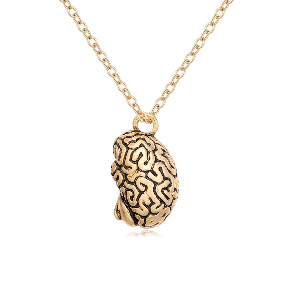 TUSHUO Plated Ancient Human Organ 3-D Brain Necklace Cool Brain Pendant Long Chain Necklace (Gold)
