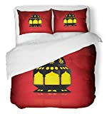 Emvency Bedsure Duvet Cover Set Closure Printed Red Eid with Lantern Yellow Greeting Dubai Allah Bright Crescent Faith Festival Decorative Breathable Bedding With 2 Pillow Shams Full/Queen Size