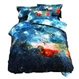 Galaxy Bedding Set Oil Print Duvet Cover Set Kids Bedding for Boys and Girls Teens Bedding Set (Twin, 6)
