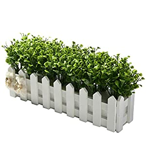 Peppermint Grass+White Fence Artificial Flowers for Wedding Party Decoration Plastic Flower+Vase Bonsai Set Fake Flowers Gift,4 37