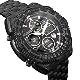 INFANTRY Mens Black Military Tactical Watch Analog Digital Wrist Watches for Men with Stainless Steel Band