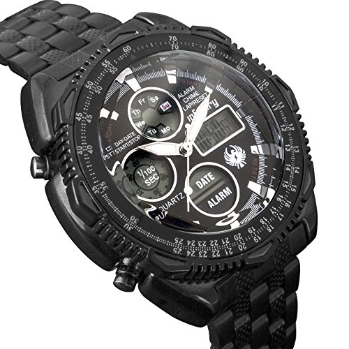 INFANTRY Mens Black Military Tactical Watch Analog Digital Wrist Watches for Men with Stainless Steel (Bezel Blk Band)