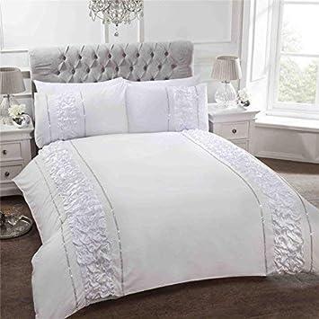 Blumen Bestickt BÄnder Weiß Baumwollmischung Einzelbett Bettbezug Bettwaren, -wäsche & Matratzen