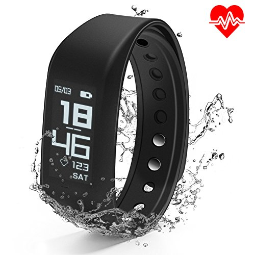 Fitness Tracker HR, MOCRUX Smart Wristband Heart Rate Monitor, IP67 Waterproof Sport Activity Tracker, Smart Bracelet Smart Band with Calorie Counter Pedometer Sleep Monitor for Android/iOS (Balance Pedometer)
