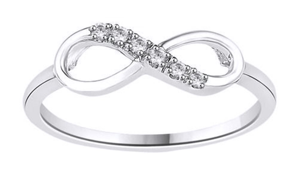 White Natural Diamond Infinity Ring in 14k White Gold Over Sterling Silver (0.05 Ct)