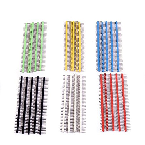 Price comparison product image TOOGOO(R) 30Pcs 40 pin Breakable Pin Header 2.54mm Single Row Male Header Connector Kit PCB Pin Strip for Arduino (Pack of 30) CYT1006