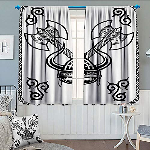 (GLANDU Viking, Thermal/Room Darkening Window Curtains, Horns Arrow and Axe Antique Celtic Style Medieval Art Monochrome Antique Motifs, Customized Curtains, 72x63 Inch Black White)