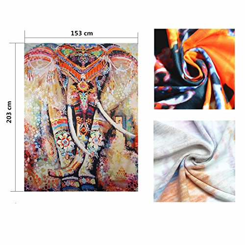 "Indian Tapestry Mandala Wall Hanging Dremisland Hippie Tapestries Bohemian Tapestry Wall Hanging Throw Bed Spread Yoga Mat Beach Mat (L:80""X60\"", Orange Elephant)"