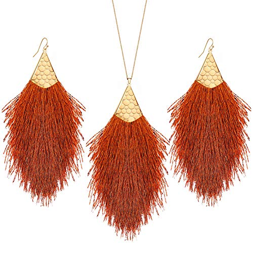 MINHIN Tassel Drop Jewelry Sets, Bohemian Silky Thread Fan Tassel Statement Drop Earrings Necklace - Feather Shape Strand Fringe Hook Dangles (Irregular Tassel-Brown) ()