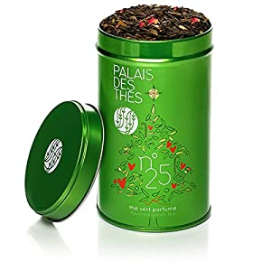 Signature Christmas Holiday Blend N°25 - Chinese Green Tea with Orange, Cinnamon, Vanilla, Rose and Almond - 3.5 oz / 100g Hand Picked Premium Whole Leaf Tea in Gift Canister