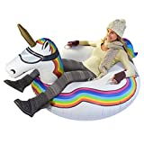GoFloats Winter Snow Tube - Inflatable Sled Kids Adults (Choose from Unicorn, Ice Dragon, Polar Bear, Penguin, Flamingo)