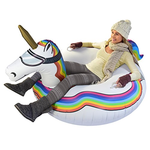 (GoFloats Winter Snow Tube - Inflatable Toboggan Sled for Kids and Adults (Choose from Unicorn, Ice Dragon, Polar Bear, Penguin, Flamingo))