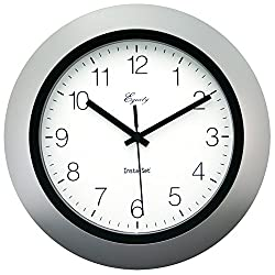 LA CROSSE TECHNOLOGY Insta-Set Wall Clock, 10, Silver