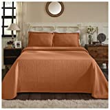 Superior 100% Cotton Medallion Bedspread with Sham, All-Season Premium Cotton Matelassé Jacquard Bedding, Quilted-Look Floral Medallion Pattern - Twin, Mandarin