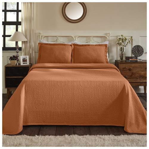 Superior 100% Cotton Medallion Bedspread with Shams, All-Season Premium Cotton Matelassé Jacquard Bedding, Quilted-look Floral Medallion Pattern - King, Mandarin ()