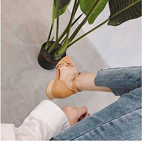 Cuadrada Sandalias Mujeres Zap 5Cm Sandalias en Retro Cabeza Y Hong Salvaje Adulto el Femeninas Áspera Moda Talón Cerrojo 3 Aumentar Kong Transpirable Abuela con el Jane de Medio Zapatos Caucho Mary qnq1xr6