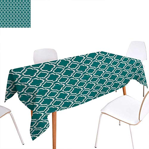 - familytaste Teal Rectangular Tablecloth Traditional Ikat Style Pattern with Abstract Curves Oval Shapes Moroccan Inspiration Oblong Wrinkle Resistant Tablecloth 70