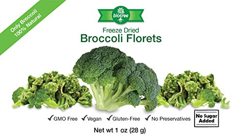 Crunchy Broccoli Snack - All Natural Freeze Dried Broccoli Florets: 100% Broccoli with No Added Sugar, No Preservatives. Vegan, Paleo, GMO Free, Gluten-Free, Delicious and Healthy Snack for Children and Adults, Tastes Great, Add to Trail mix or bring camping or backpacking or on road trips. Excellent Source of Vitamin A & C