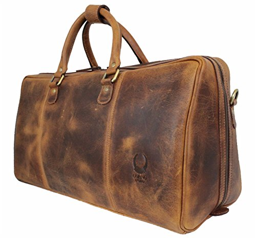Travel Bag Genuine Leather Duffel Overnight Weekender Large Capacity Luggage Carry On Bag by Corno d´Oro Tulsa by CORNO D´ORO