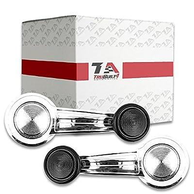 T1A 20348200 Pair Right & Left Chrome Window Regulator Crank Handles w/ Black Knob | Fits 68-76 Chevrolet Truck 69-76 Blazer 78-83 Malibu and 78-87 Caballero by TruBuilt 1 Automotive