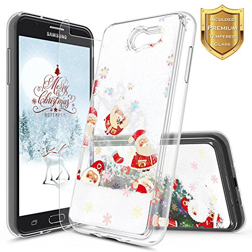 Galaxy J7 Prime Case, J7 Sky Pro Case, J7 V / J7 Perx/Halo w/[Tempered Glass Screen Protector], NageBee Glitter Liquid Quicksand Waterfall Flowing Sparkle Case for Samsung Galaxy J7 2017 -Christmas