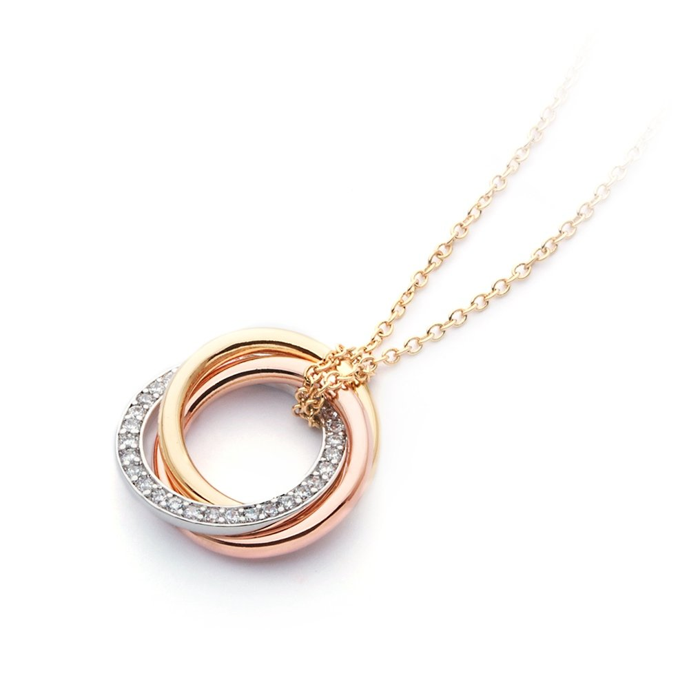 MYJS Trinity 3 Gold Plated Interlocking Pendant Necklace with Cubic Zirconia 17+2 Extender