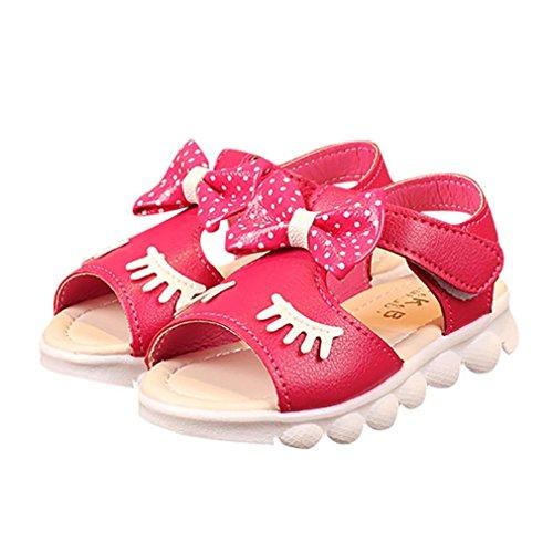 Prevently Mädchen Sandalen Mädchen Wimpern beschmutzte Bogen Rutschfeste Schuhe Sandalen Prinzessin Kinder Säugling Kinder Mädchen Wimpern Bowknot Beach Freizeitschuhe Hot Pink