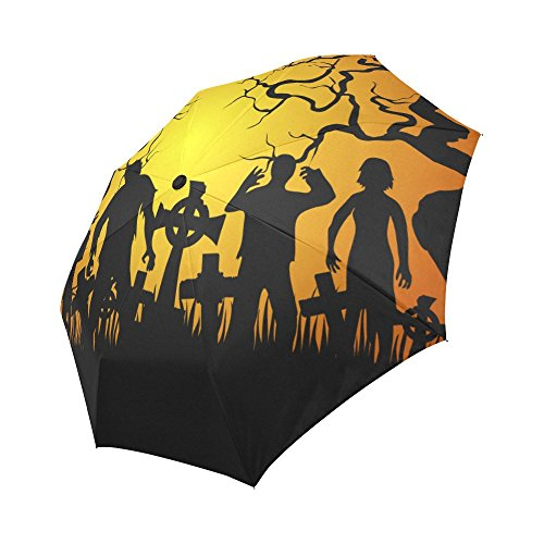 InterestPrint Crowds of Halloween Zombies Walking at Night 100% Polyester Pongee Windproof Fabric Travel Umbrella, Compact Automatic Open and Close Folding UV and Rain Umbrella for $<!--$25.99-->