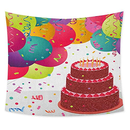 Grateful Dead Birthday Cake (jecycleus Birthday Grateful Dead Tapestry Strawberry Triplex Cake with Candles Ribbons Balloons Newborn Celebration Theme Wall Decor for Bedroom Tapestry W62.8 x L62.8 Inch)