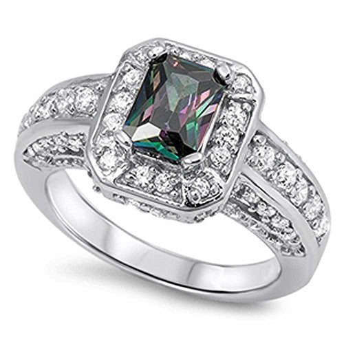 Sterling Silver Cushion Simulated Mystic Rainbow Topaz ring W Clear Cz Accents