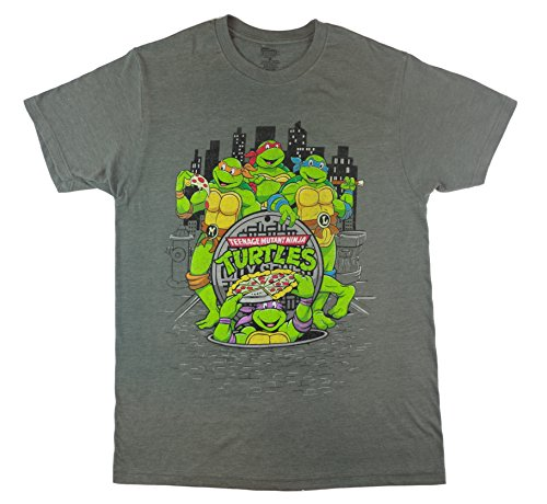 Teenage Mutant Ninja Turtle City Lights and Pizza Scene Adult/Unisex Tshirt, Med Charcoal Grey Heather (Medium)