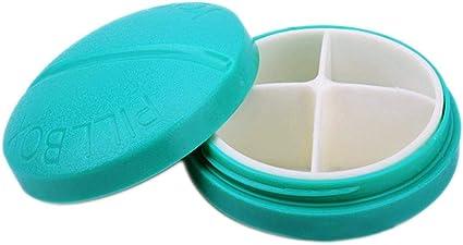 Caja de pastillas portátil, Caja de pastillas de plástico redonda ...