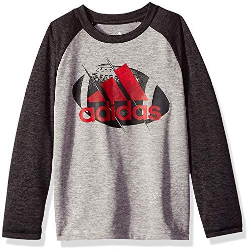 adidas Boys' Big Basic Long Sleeve Tee Shirt, Black Heather M (10/12) -