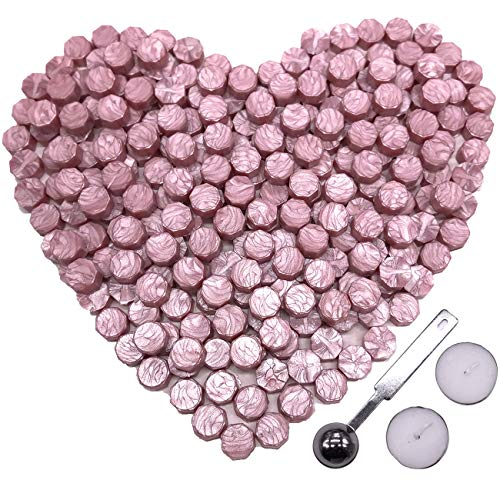 Botokon Pink Sealing Wax, 150 Pieces Octagon Wax Sealing Beads Sticks Set a Wax Melting Spoon 2 Pieces Candles Wax Seal Stamp (Pink Sealing ()