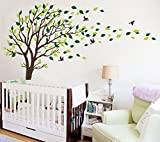 Large Brown and Green Tree Blowing in the Wind Tree Wall Decals Wall Sticker ...