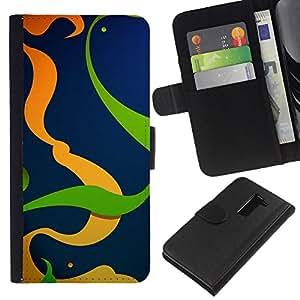 EJOY---La carpeta del tirón la caja de cuero de alta calidad de la PU Caso protector / LG G2 D800 / --Naranja Verde Líneas del extracto del remolino Limpio
