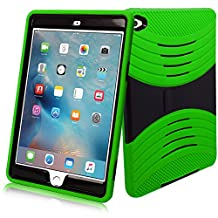 iPad Mini 4 Case, [Heavy Duty] Bvgande Apple iPad Mini 4 (2015 Release) Le Mes Series [Dual Layer] Hybrid Full-body Protective Case with Front Cover and Built-in Kickstand / Bumpers (Green)